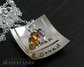 Personalized hand stamped mommy necklace - sterling silver chain - square baby disc charm and birthstone - gifts moms, sisters, friends