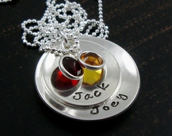 Hand stamped mother necklace - sterling silver chain - 2 baby name discs and birthstones