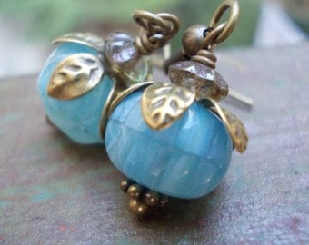 Blue Flower Earrings, little dangle earrings, handmade romantic jewelry, glass bead brass drop earring new retro floral bloom blossom bronze