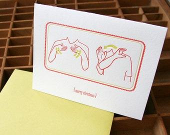 letterpress christmas sign language card
