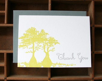letterpress cypress thank you cards
