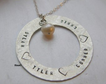 Tell Your Story - YOUR names - YOUR words - YOUR letters -in Hebrew or English  - - - - - on sterling silver washer- By SimaG
