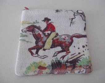 Vintage barkcloth cowboy change purse