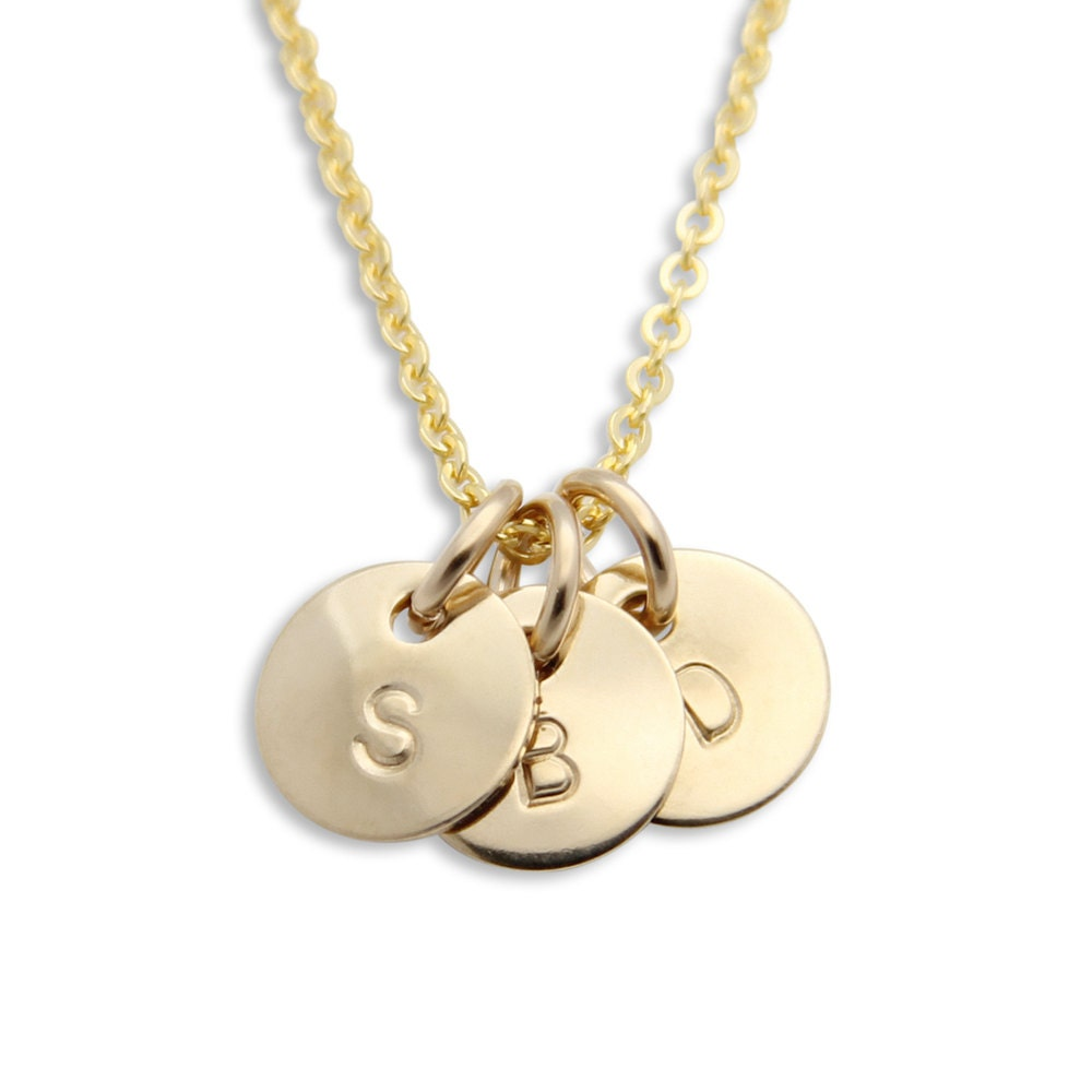 mothers necklace three gold initial pendants personalized
