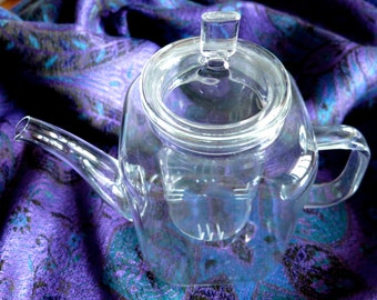 Square column glass teapot