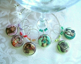Pretty Vintage Kitties Wine & Drink Glass Charms - Set of 6