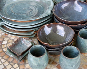 Eclectic Dinnerware Set of 8 Place Settings in Slate Blue - Made to Order