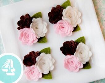 Wool Felt Rose Trio with leaves Neopolitan