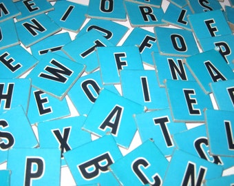 Robins Egg Blue Cardboard Scrabble Tiles or Game Pieces Set of 100