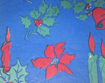 Vintage Blue Christmas Tissue Wrapping Paper or Gift Wrap with Holly Berries Ribbons Candles Bells Poinsettias