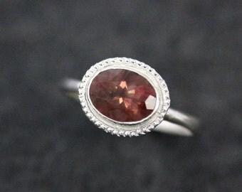 Oregon Sunstone Ring, Sterling Silver Gemstone Ring, Milgrain Detail on Recycled Tarnish Resistant  Silver