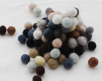 1cm / 10mm - 100% Wool Felt Balls - 100 Count - Assorted Neutral Colors