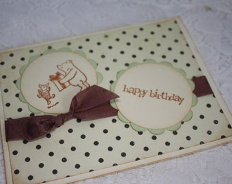 Happy Birthday Classic Winnie the Pooh and Piglet Greeting Card