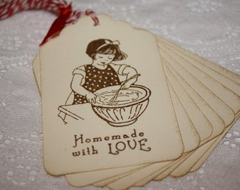 Handmade Vintage Style Homemade with Love Gift Tags - Baked Goods at Christmas