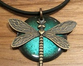 Dragonfly Jewelry, Pendant, Copper Enamel, Electric Blue, Water Blue, Handmade Necklace