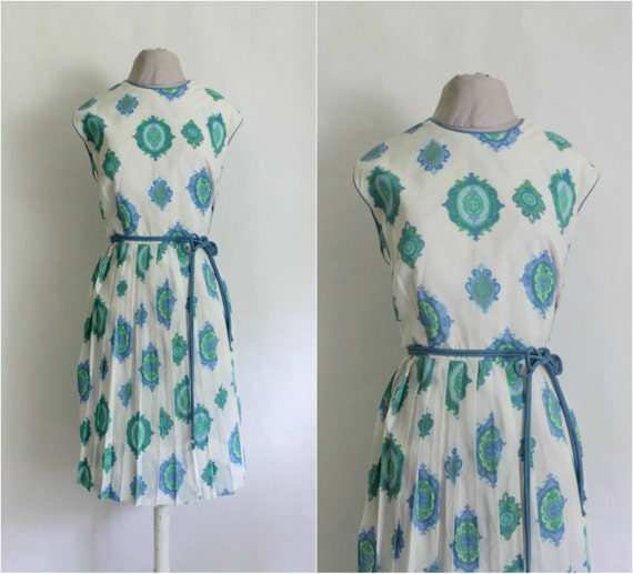 Vintage 1960s Blue Paisley Sun Dress / 60s Dress / Garden Party Dress