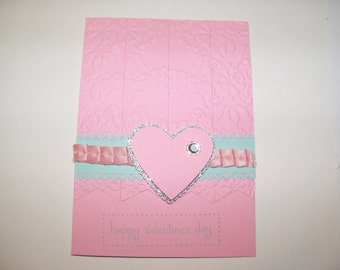 Pink Happy Valentine's Day handmade greeting card