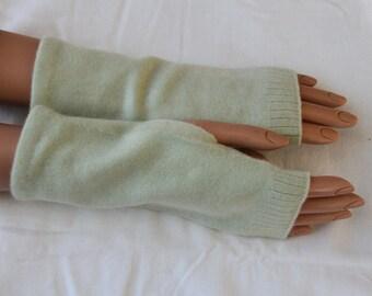 Light Green Upcycled Cashmere Fingerless Gloves
