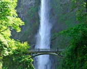Multnomah Falls Oregon Waterfall Photography Columbia Gorge Fine Art Photograph Silver Blue Green Landscape Scenic America 5 x7 Matted Print
