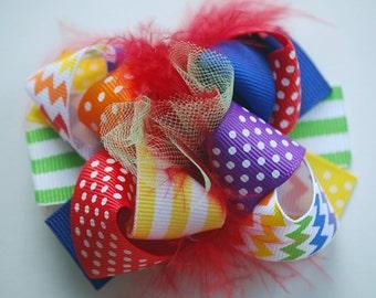 boutique ITSY-BITSY hip RAINBOW chevron hair bow clip