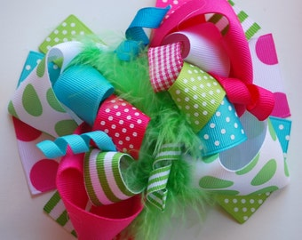 boutique FUNKY fun PINK green TURQUOISE brights hair bow clip