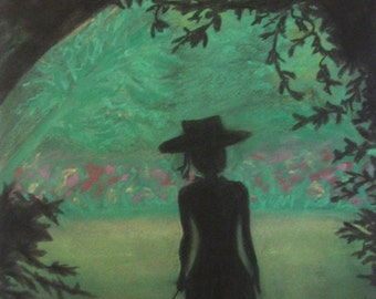 Silhouette Garden Pastel Drawing