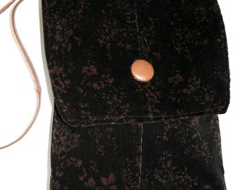 ON SALE Recycled Black and Brown Floral Corduroy Cross Body Shoulder Bag