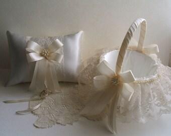 Wedding Set, Flower Girl Basket,Ring Pillow, Handmade, PEARL CLUSTER,Flowergirl, White or Ivory