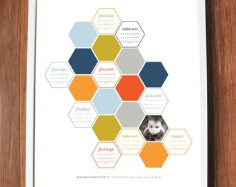Baby's first year print with geometric hexagons and milestones, CUSTOM, LARGE