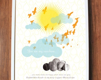 You are my sunshine print with clouds and birds, CUSTOM, LARGE