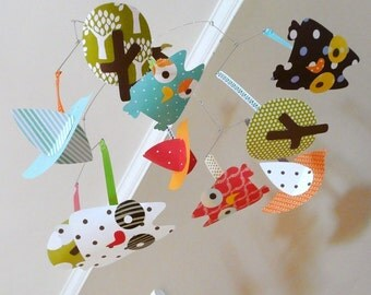Owl and Bird Mobile, baby mobile, owl mobile, custom baby mobile, modern nursery art, modern mobile, custom baby gift, woodland mobile