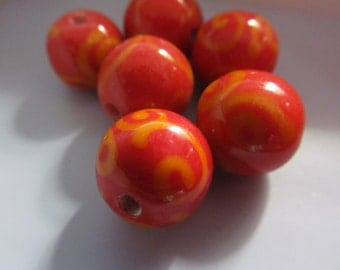 Vintage Glass Beads (2) Red With Yellow Swirls Handmade Beads