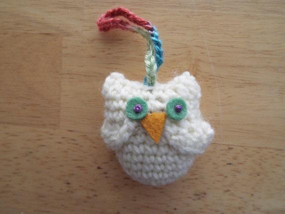Crocheted Stuffed Owl, Amigurumi, Key Chain, Free U.S. Shipping, Ready To Ship