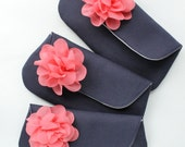 Navy and Coral Wedding Clutch Purse Set, Bridesmaid Gift, Personalized Color Options