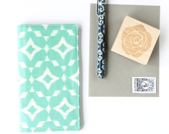 Mint Check Book Cover, Teen Gift Idea, Under 25, Ikat Checkbook Cover, Teal Checkbook Covers
