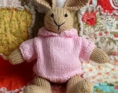 Amy, a hand knit cotton rabbit