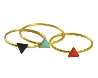 Set of 3 Triangle Enameled Gold Rings // Enamel in Geometric Settings on a Thin, Dainty Gold Vermeil Band // Stacked Set