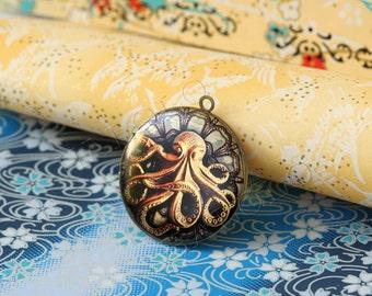 1pc Octopus round antique brass locket 32mm (LD113)