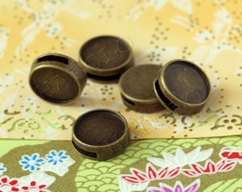 10pcs antique bronze base beads bezels - for 12mm cabochons  BN308A