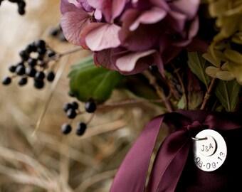 Handstamped Bride's Wedding Bouquet Charm