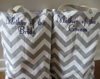Mother of the Bride, Mother of the Groom, Chevron bag, Chevron tote set
