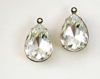 Crystal Clear Faceted Glass Teardrop Stones 1 Loop Brass Ox Setting 18x13mm par011P