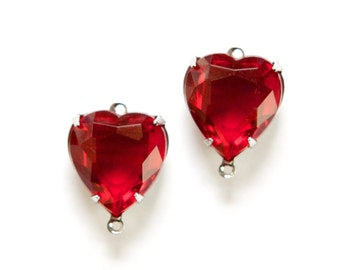 2 Loop Ruby Red Glass Heart Charms Silver Setting hrt002A2