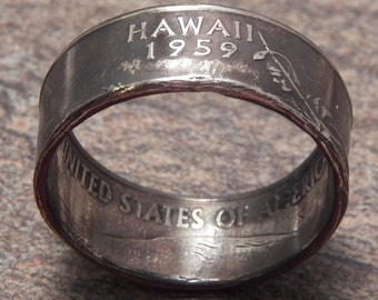 Coin Ring Hawaii made from a Copper Nickel Quarter Statehood jewelry great unique gift