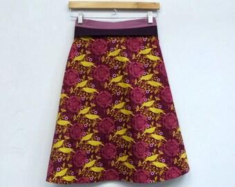 Birds on Fire Womens Wrap Skirt, A Line Skirt, High Waisted Skirt, Size S/M, One Size