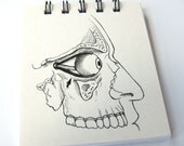 Anatomy Diagram Note Pad // Vintage Skull Flash Card Notebook // Eyeball