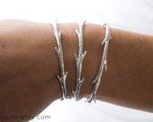 Sterling Silver Twig Cuff Bracelet | Stacking Bracelets| Nature Inspired Braclets