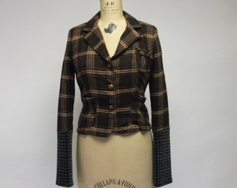 Mixed Plaid Fitted Blazer
