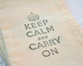 Muslin Favor Bags Drawstring  Keep Calm Carry On SET OF 10