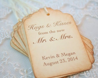 Hugs and Kisses from the new Mr. and Mrs. Favor Tags Set of 10 Wedding Name and Date Personalized